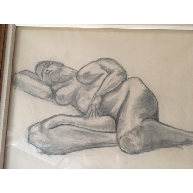 """Vintage Large Mid-Century Art Deco Abstract """"Laying Woman Figure Nude"""" Pencil Drawing For Sale - Image 6 of 9"""