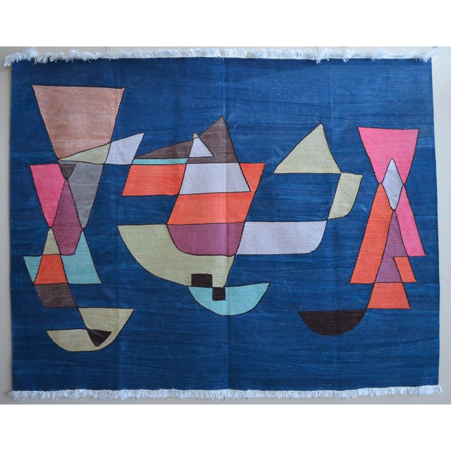 Paul Klee - Sailing Boats - Inspired Silk Hand Woven Area - Wall Rug 4′6″ × 5′9″ For Sale - Image 11 of 11