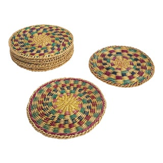 Vintage Colorful Woven Coasters - Set of 8 For Sale