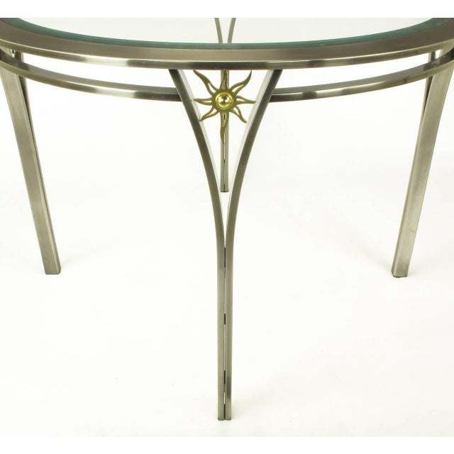 1980s DIA Round Brushed Steel and Brass Sunburst Dining Table For Sale - Image 5 of 8