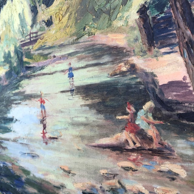 Paint 1980s M.Bickel Children Playing in Stream Landscape Painting For Sale - Image 7 of 13