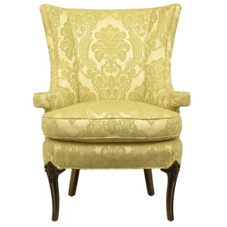 Uncommon 1940s Wingback Chair in Silk and Linen Damask Upholstery For Sale