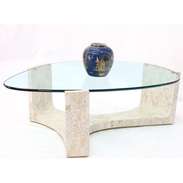 Tessellated Stone Veneer Tile Organic Kidney Shape Coffee Center Table For Sale - Image 4 of 13