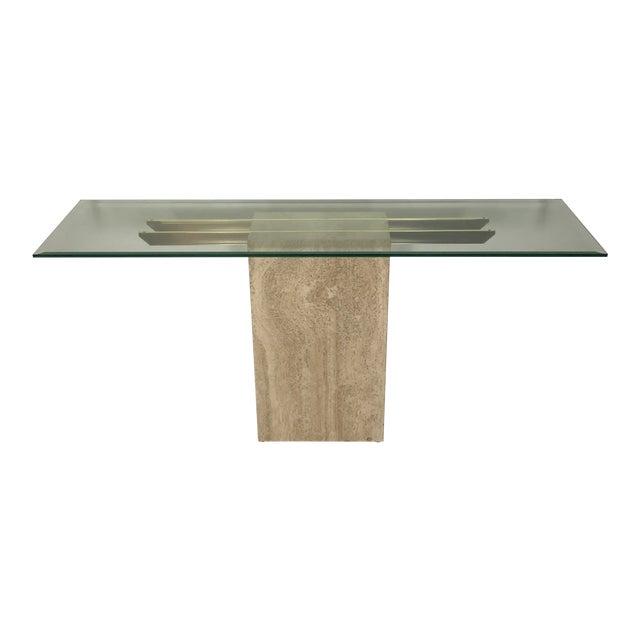 1970s Italian Marble/Brass Artedi Console Table For Sale