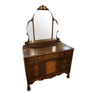 Vintage 1920s Art Deco Dresser With Mirror For Sale