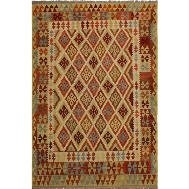 Beige Abstract Rosetta Beige/Gold Hand-Woven Kilim Wool Rug -5'10 X 7'8 For Sale - Image 8 of 8