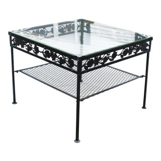 Square Glass Top Iron Outdoor Table For Sale