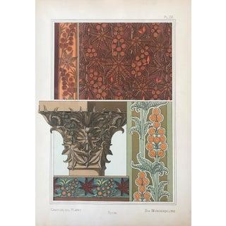 1896 French Decorator Pochoir, Castor Oil Plant (Plate 20) For Sale