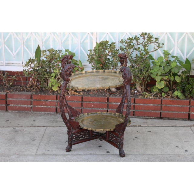 1950s Antique Chinese 2 Tier Brass Center Table For Sale - Image 5 of 12