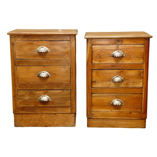 Teak Wood Nightstands - A Pair - Image 1 of 2