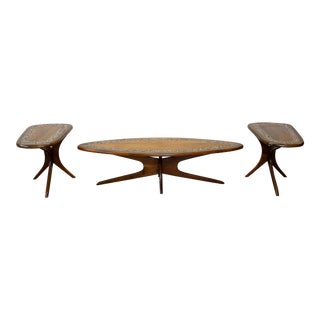 Adrian Pearsall Craft Associates Style Tile Top Walnut End and Coffee Tables For Sale