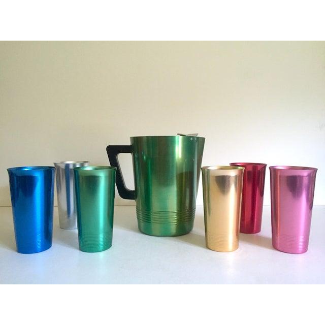 Vintage Mid Century Modern Rare Anodized Spun Aluminum Multicolor Beverage Set - 7Pc For Sale - Image 12 of 12