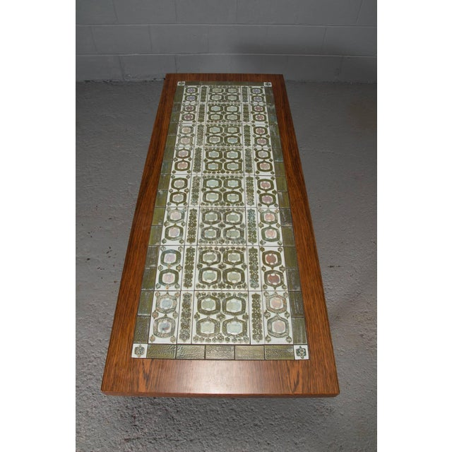 Mid-Century Modern Rosewood and Green Tile Coffee Table For Sale - Image 3 of 10