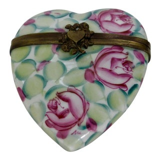 Vintage Limoges France Hand Painted Heart Box