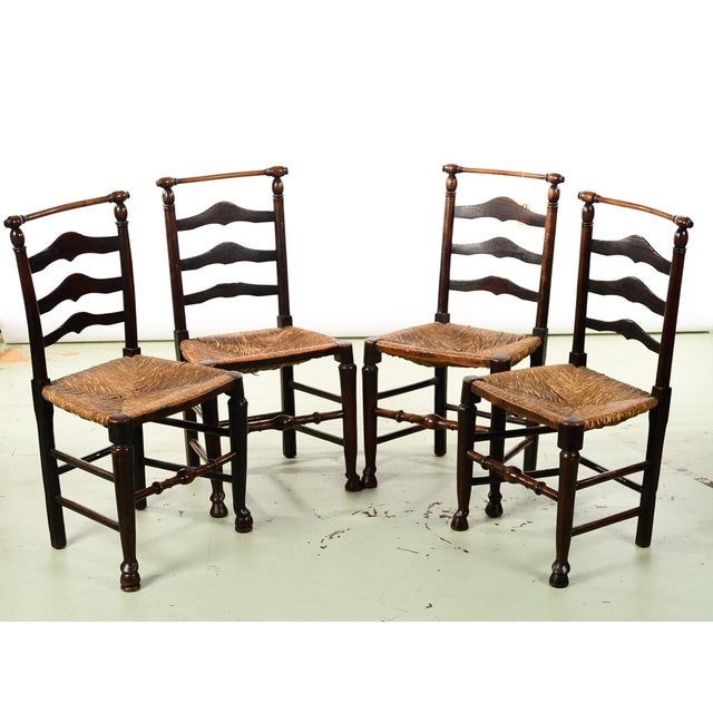 "18th century set of 4 Fabulous Country carved Ladder Back Chairs size 18w x 15d x 36""h seating height 19"""