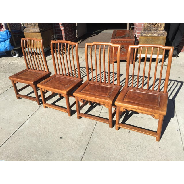 Antique Asian Tea Table Chairs - Set of 4 For Sale - Image 11 of 12