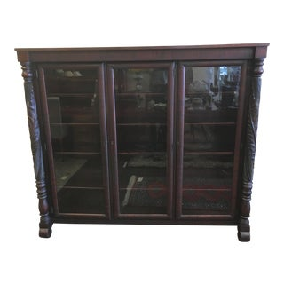 Early 1900s Acanthus Carved Mahogany 3-Door Bookcase