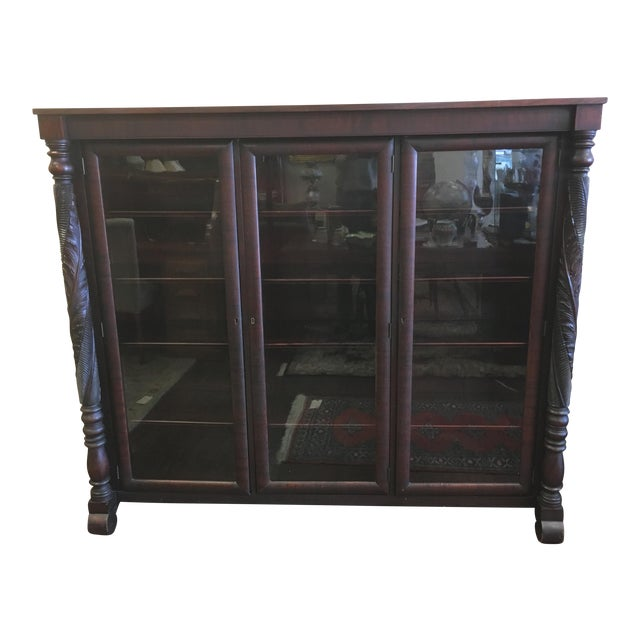 Early 1900s Acanthus Carved Mahogany 3-Door Bookcase - Image 1 of 10