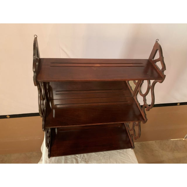Antique Chippendale Carved Mahogany 3 Tier Wall Hanging Display Rack For Sale - Image 10 of 12
