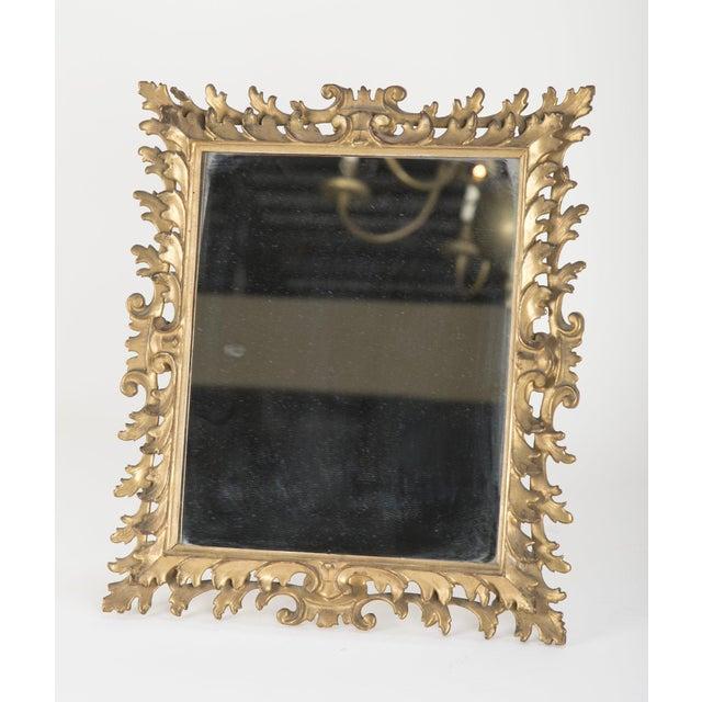 Wood Italian Rococo Style Gilt Wood Vanity Mirror For Sale - Image 7 of 8