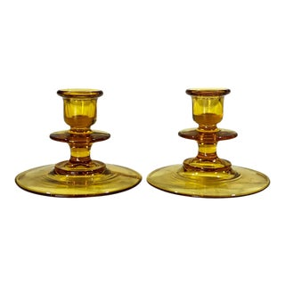 Antique Victorian Amber Glass Low Candlestick Holders - a Pair For Sale