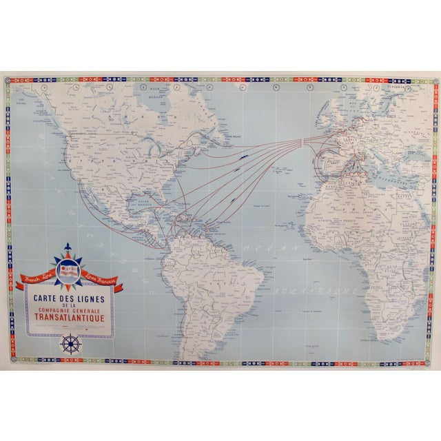 White Original Vintage French North American Route Map, the French Line For Sale - Image 8 of 8