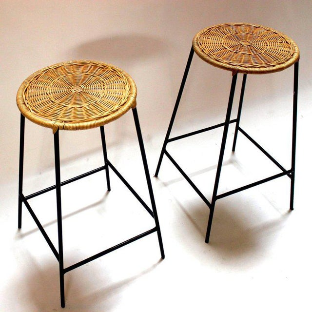 Wicker & Metal Bar Stools, Arthur Umanoff Style - A Pair For Sale - Image 5 of 9