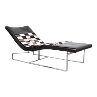 Enrico Pellizzoni Leather and Steel Chaise Lounge For Sale
