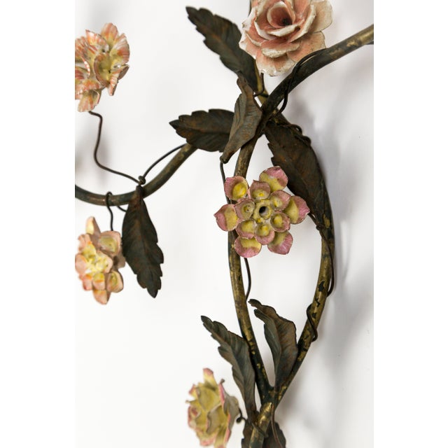 Tole and Porcelain Floral Wall Hanging Candle Holders- A Pair For Sale In San Francisco - Image 6 of 13