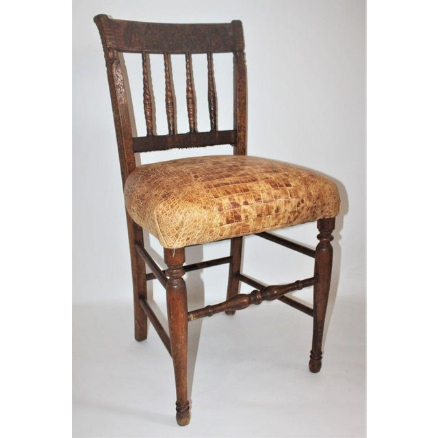 Metal 19th Century Handmade English Chess Carved Chair For Sale - Image 7 of 10