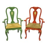 Image of Vintage Queen Anne Style Chairs-A Pair For Sale