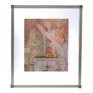 Lenny Lyons Bruno Original Abstract Print in Nickel Metal Frame