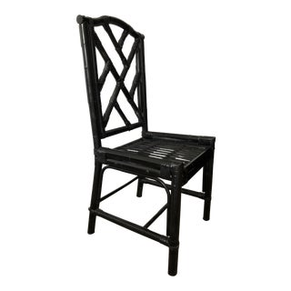 1980s Regency Black Bamboo Side Chair