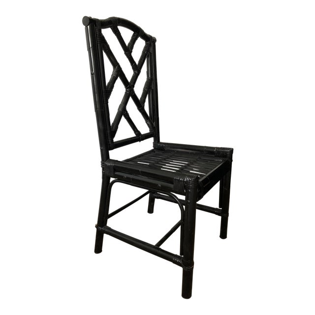 1980s Regency Black Bamboo Side Chair For Sale