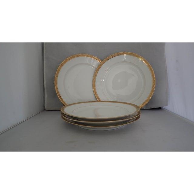 Elegant Gold Rim Dinner Plates S/5 - Image 6 of 7