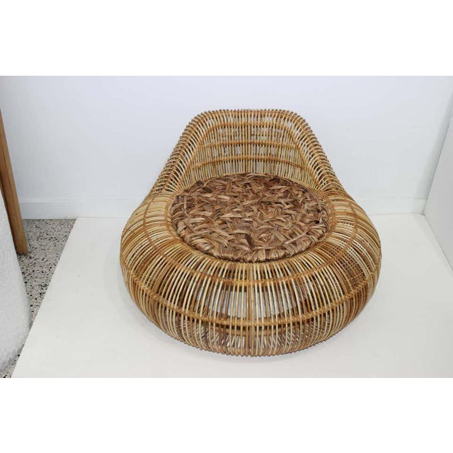 Vintage Franco Albini Attributed Rattan Lounge Chair For Sale In West Palm - Image 6 of 13