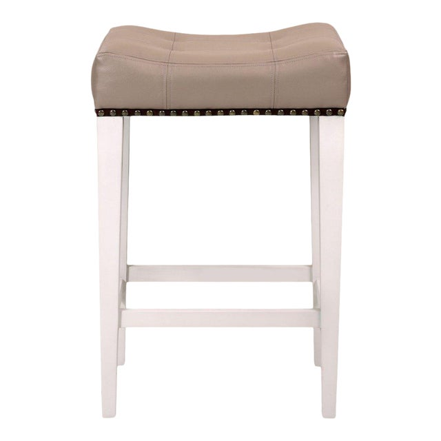 Cocktail Counter Stool in Gray Vinyl For Sale