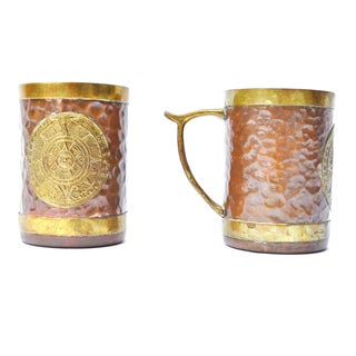 Hand-Hammered Copper Mugs - A Pair