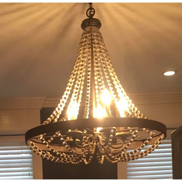 Metal Rustic French Country Beaded Chandelier For Sale - Image 7 of 7
