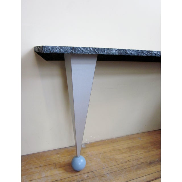 This is a vintage one of a kind 1980s-1990s postmodern Memphis style custom made entry way table or console. It is very...