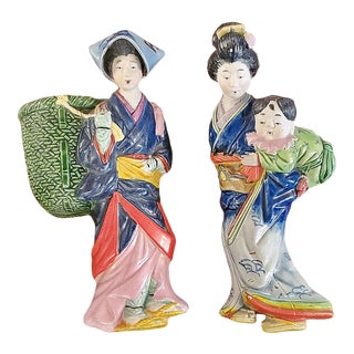 Vintage Japanese Porcelain Geisha Wall Pockets - a Pair For Sale