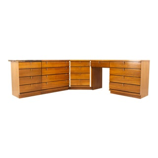 Johnson Carper Mid Century Walnut and Formica 4 Piece Corner Dresser Desk For Sale