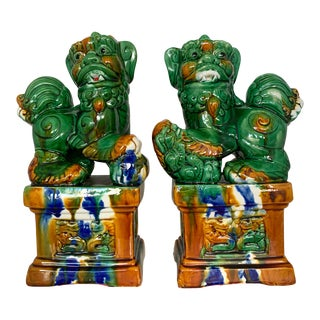 Sancai Glazed Chinese Guardians Lions Foo Dogs For Sale