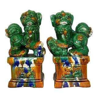 Vintage Sancai Glazed Chinese Guardians Lions Foo Dogs For Sale