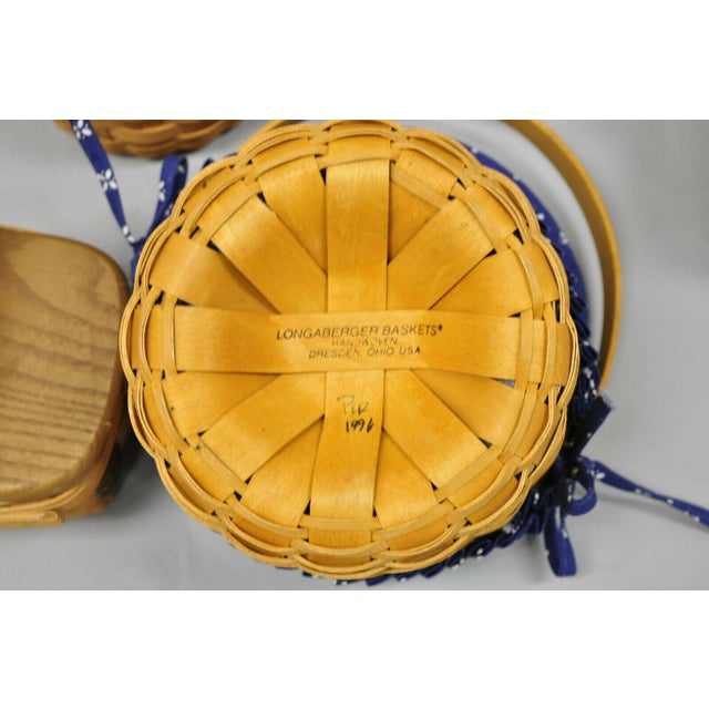 Brown Vintage 1990s Longaberger Basket Lot Wine Berry Wall Pocket Lid Round - 9 Pieces For Sale - Image 8 of 13
