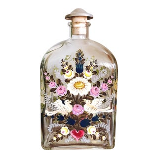 German Hand-Painted Liquor Decanter For Sale