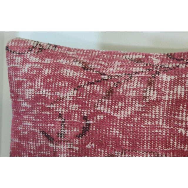 Pink Handmade Over-Dyed Rug Pillow Covers - A Pair - Image 4 of 6