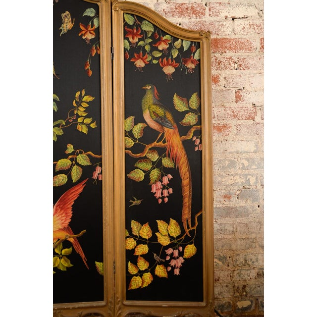 French Three-Panel Parrot Motif Screen - Image 4 of 11