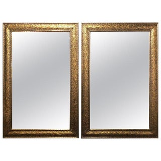 Hollywood Regency Filigree Style Silver and Gold Wall Mirrors - a Pair For Sale