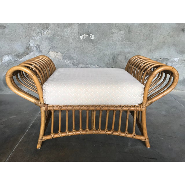 1980s Vintage Rattan Lounge Chair & Ottoman For Sale In Los Angeles - Image 6 of 13